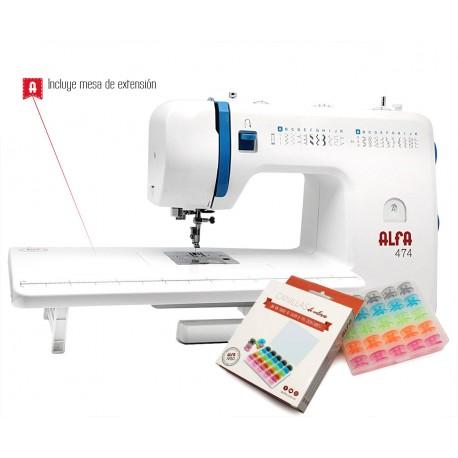Máquina de coser Alfa 474 con mesa extensible